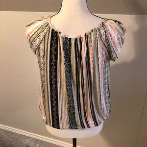 Women's short sleeve with multi colored pattern